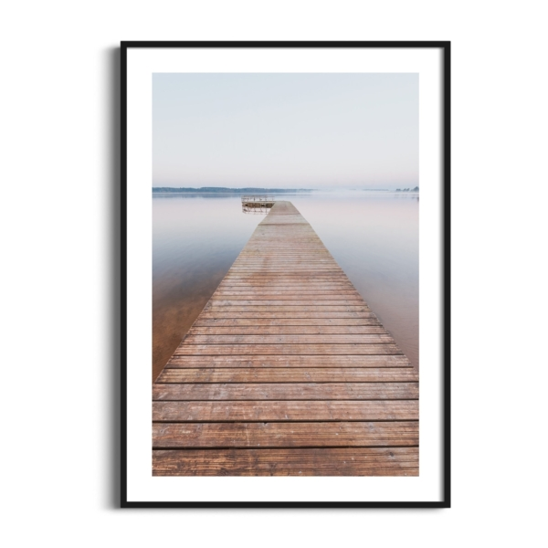 Morning on Tamula Lake Print in black frame with white border