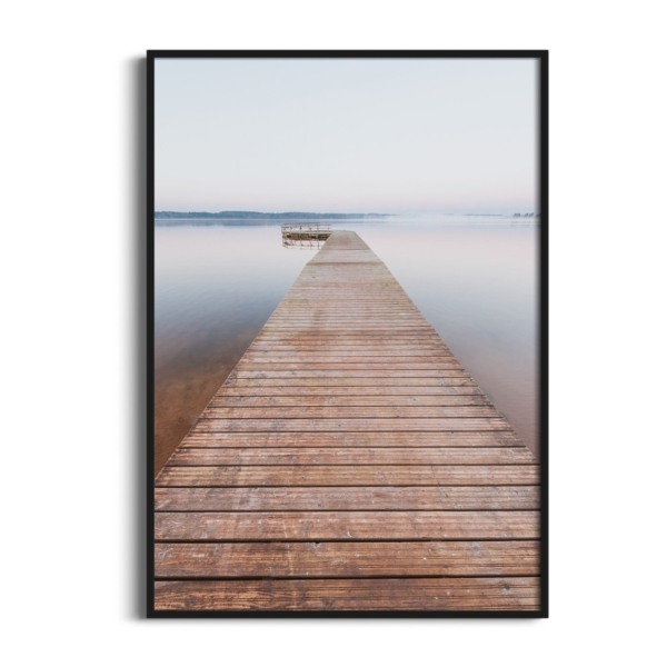 Morning on Tamula Lake Print in black frame without border