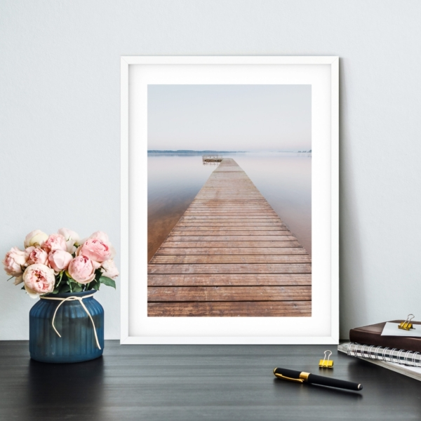 Morning on Tamula Lake Print in white frame on the shelf