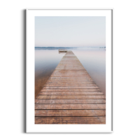 Morning on Tamula Lake Print in white frame with white border