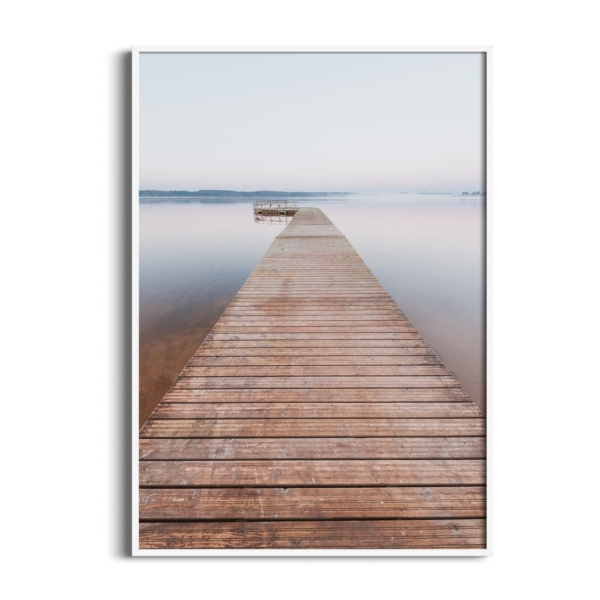 Morning on Tamula Lake Print in white frame without border