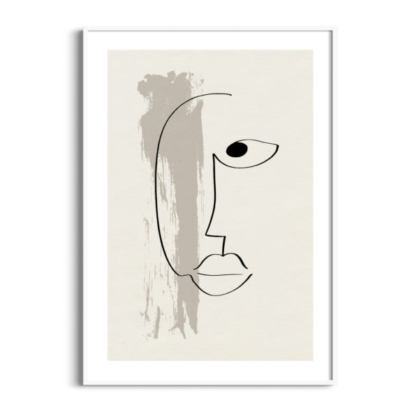 Abstract face #13 poster in white frame
