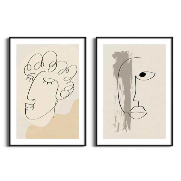 Abstract face #7 and #13 posters in black frames