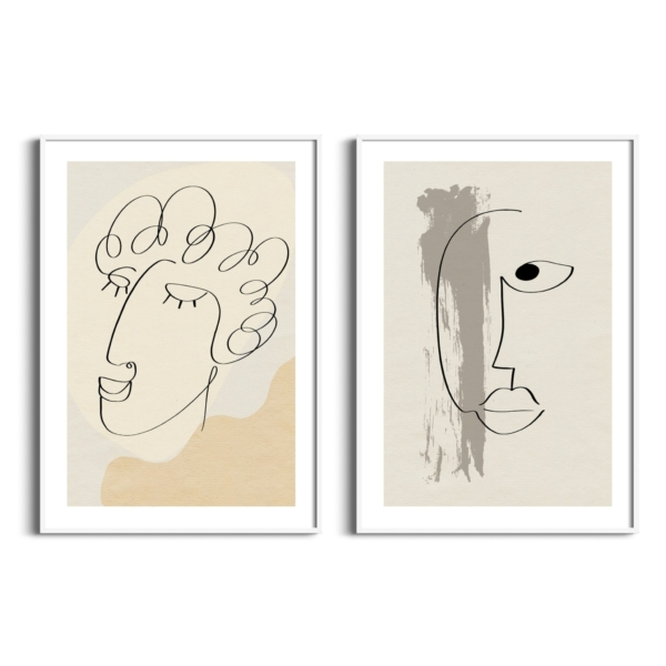 Abstract face #7 and #13 posters in white frames