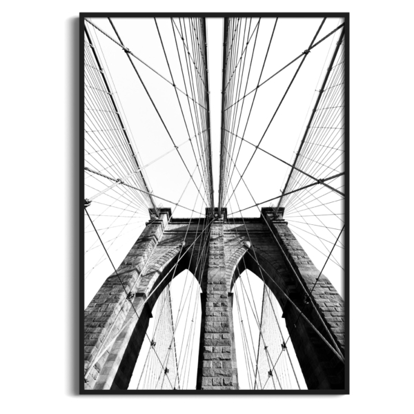 Brooklyn Bridge Classic View in black frame without border