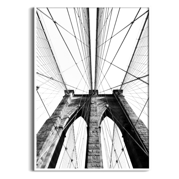 Brooklyn Bridge Classic View in white frame without border