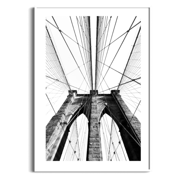 Brooklyn Bridge Classic View in white frame with border
