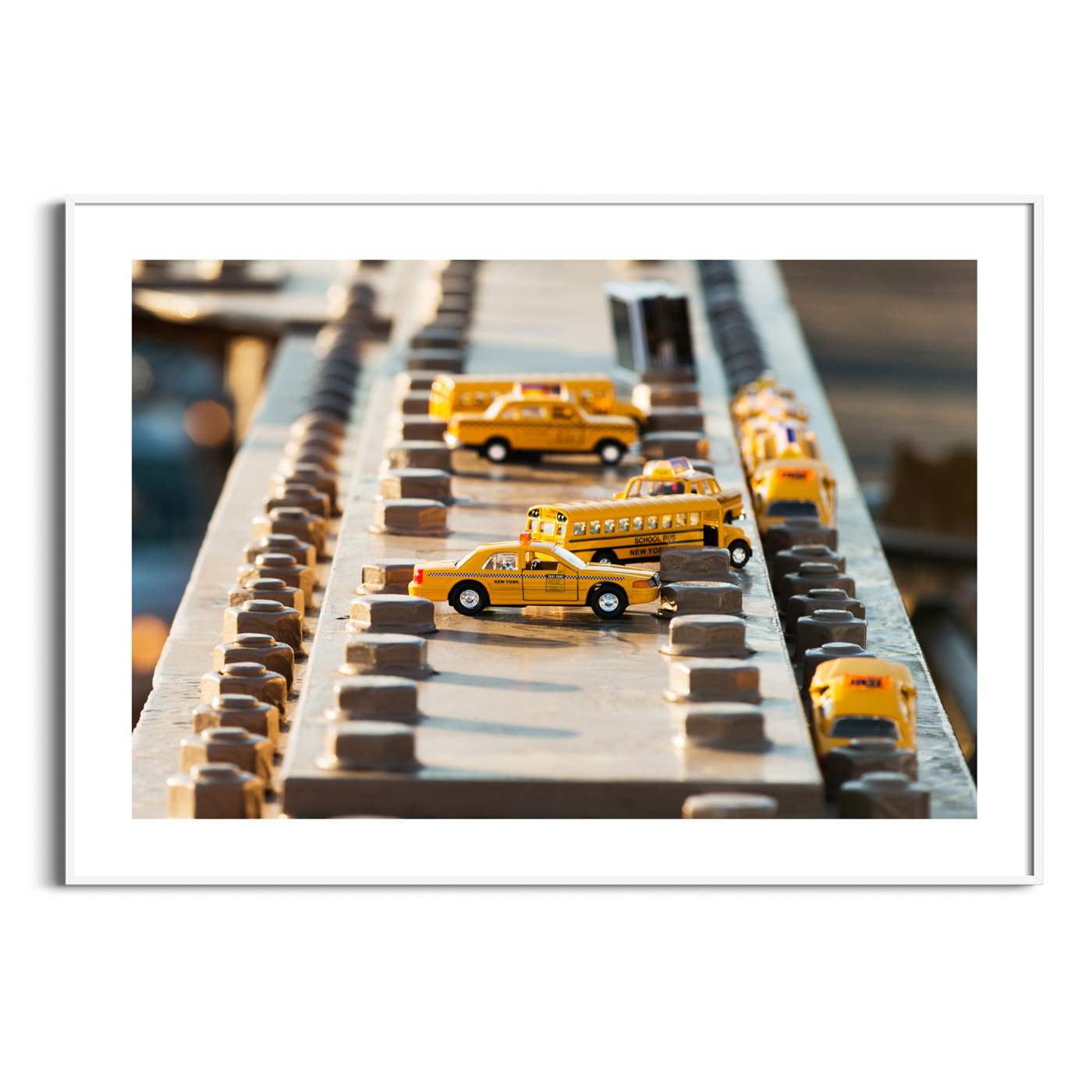 Yellow Toy Cars on Brooklyn Bridge Print with border in white frame
