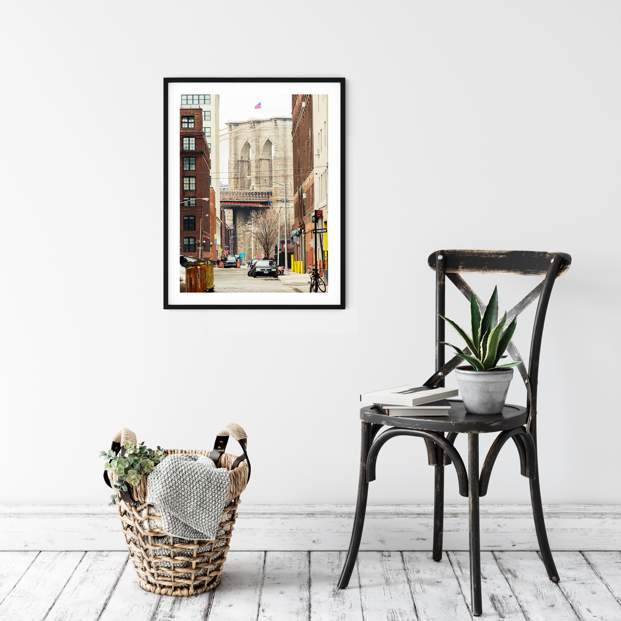 Brooklyn Bridge: View From Brooklyn photography - print with white border in black frame on the wall