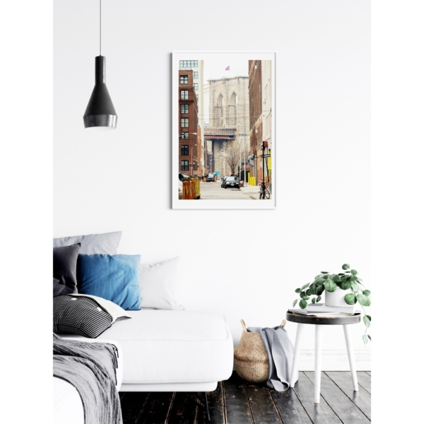 Brooklyn Bridge View From Brooklyn print in white frame on the wall