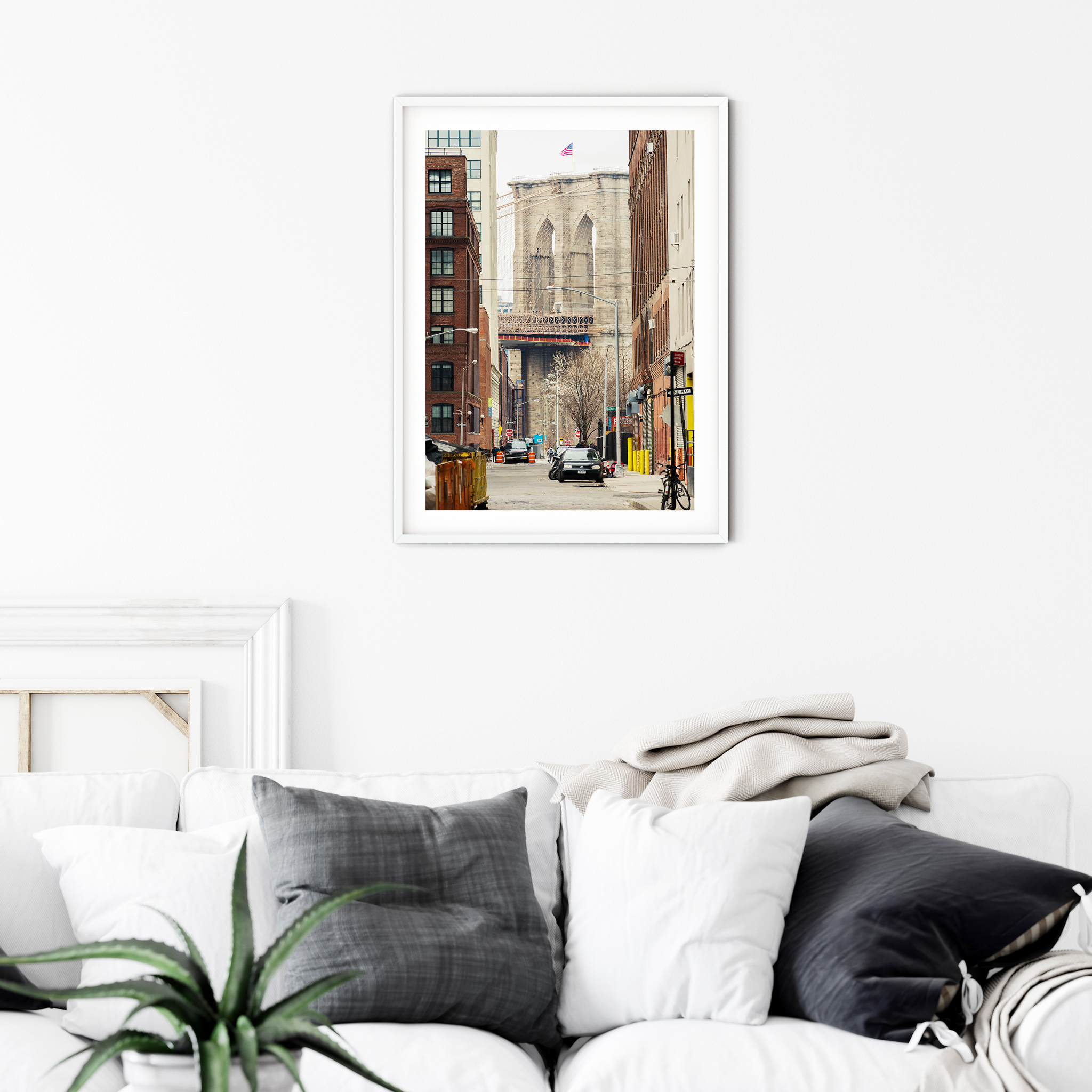 Brooklyn Bridge: View From Brooklyn photography - print with white border in white frame on the wall