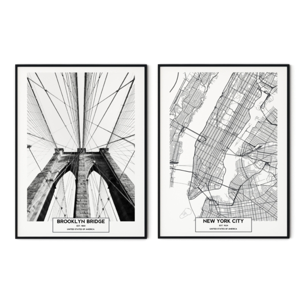 Brooklyn Bridge and New York City Map prints in black frames