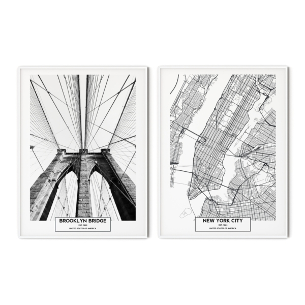 Brooklyn Bridge and New York City Map prints in white frames