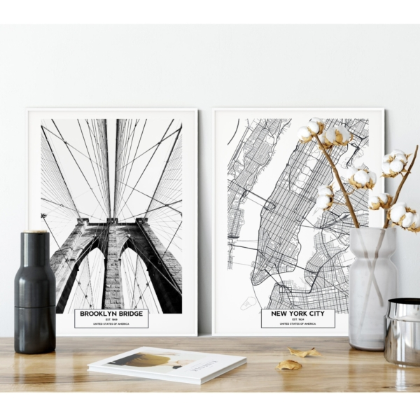Brooklyn Bridge and New York City Map prints on the shelf Gallery Wall