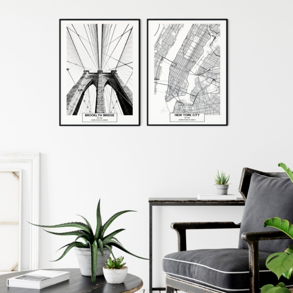 Brooklyn Bridge and New York City Map prints on the wall Gallery Wall