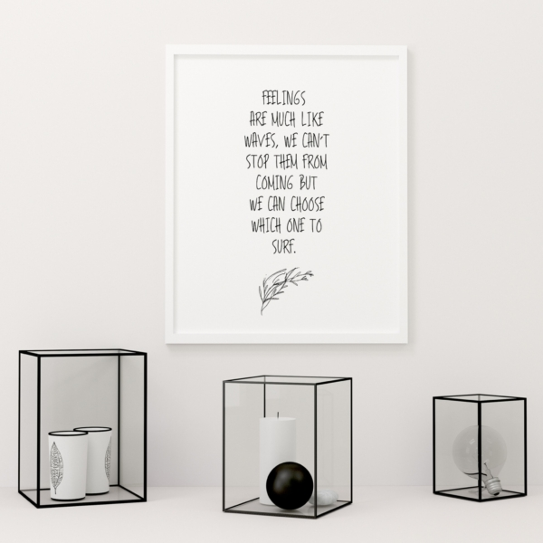 Feelings Are Much Like Waves Quote Poster in white frame on the wall