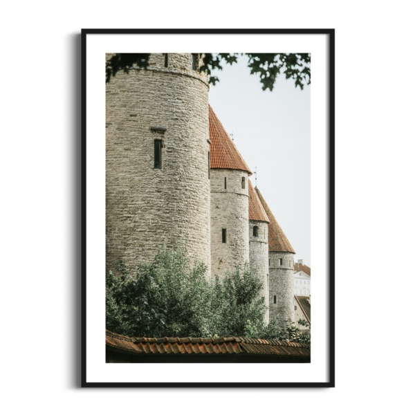 Four Towers Print in black frame with border