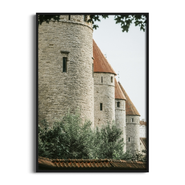 Four Towers Print in black frame without border