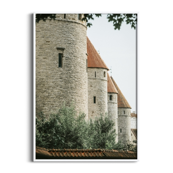 Four Towers Print in white frame without border