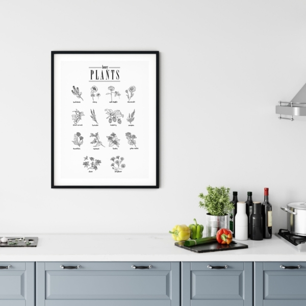 Honey Plants poster in black frame on the kitchen wall