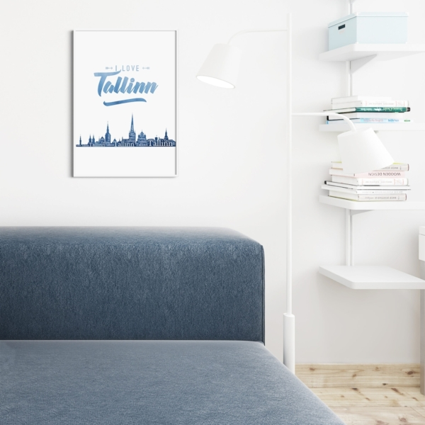 I Love Tallinn Indigo Blue Poster on the wall