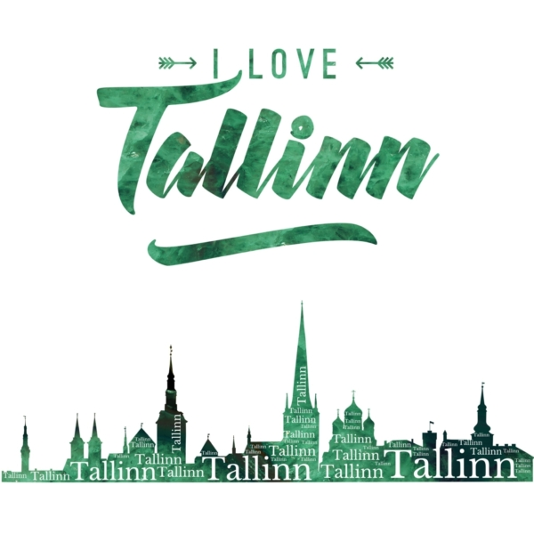 I Love Tallinn Poster Green Agate design