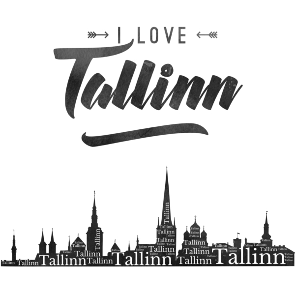 I Love Tallinn Poster Ivory Black design