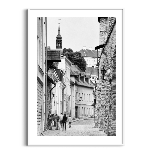Laboratooriumi Street print in white frame with border