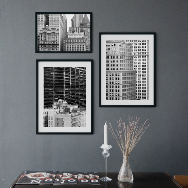 Manhattan Architecture Shot Number 36 print in black frame on the wall - dark interior wall