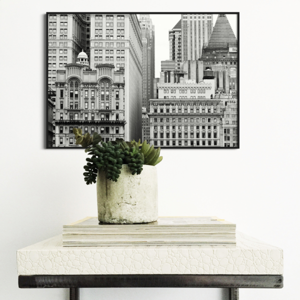 Manhattan Architecture Shot Number 7 print in black frame without border on the wall