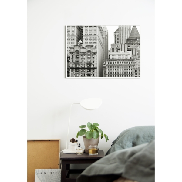 Manhattan Architecture Shot Number 7 print in white frame without border on the wall