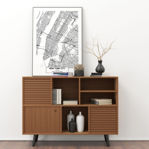 New York City map in black frame on the shelf