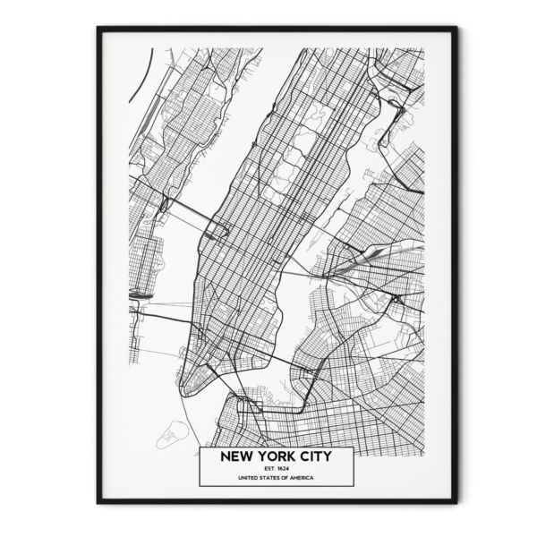 New York City map in black frame