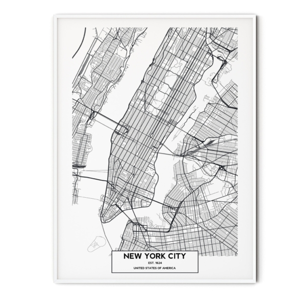 New York City map in white frame