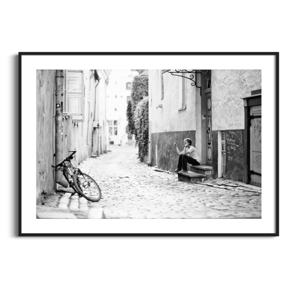 Vaimu Street, Tallinn photography - black and white print in black frame with border