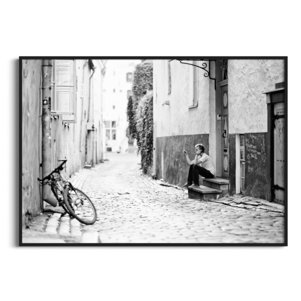 Old Town Street Photograph in black frame without border