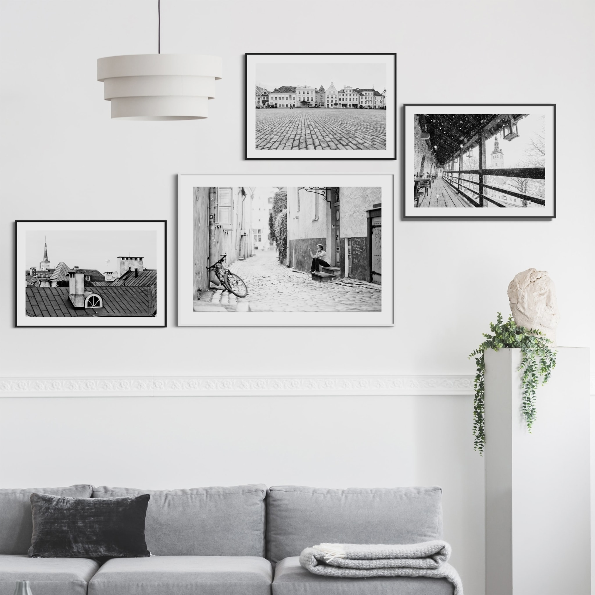 Old Town Street Photograph in white frame on the wall