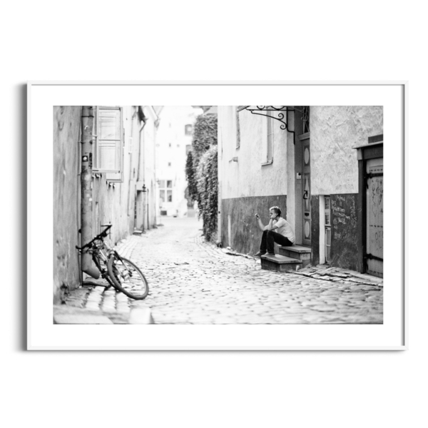 Old Town Street Photograph in white frame with border
