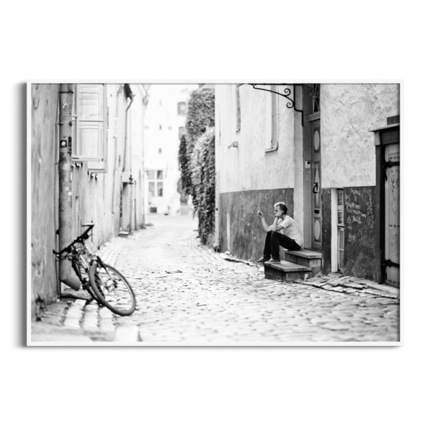 Old Town Street Photograph in white frame without border