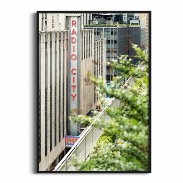 Radio City Music Hall print in black frame without border