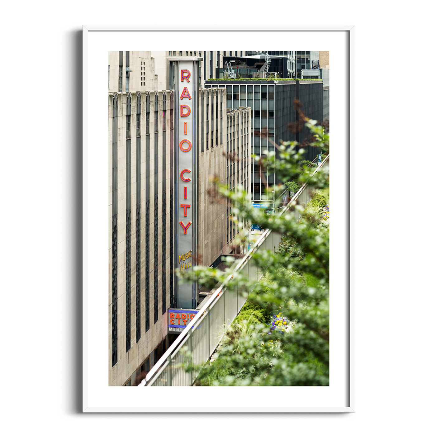 Radio City Music Hall print in white frame with border