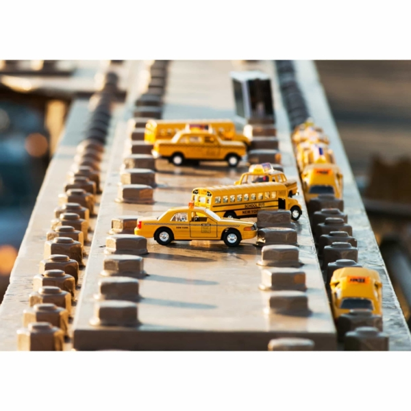 Yellow Toy Cars on Brooklyn Bridge Print