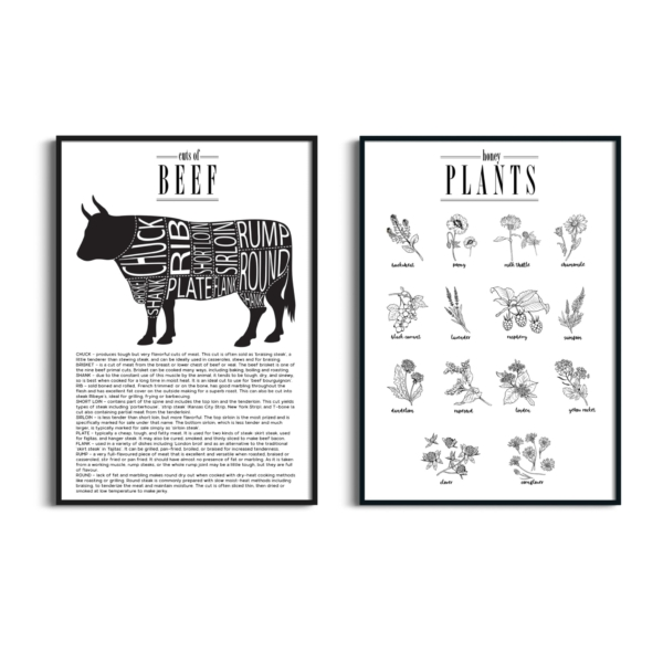 Cuts of Beef and Honey Plants posters design