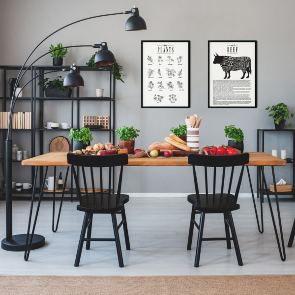 Cuts of Beef and Honey Plants posters gallery wall in black frames on the kitchen wall