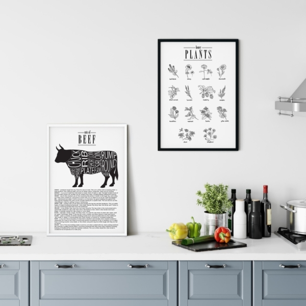 Cuts of Beef and Honey Plants posters gallery wall in the kitchen