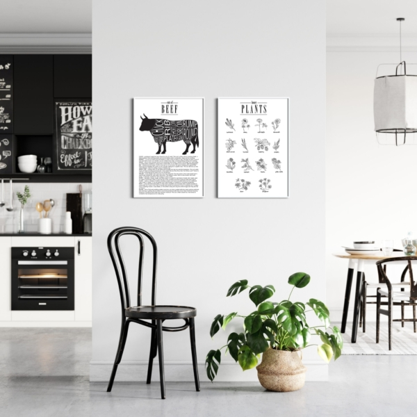 Cuts of Beef and Honey Plants posters gallery wall in white frames on the kitchen wall
