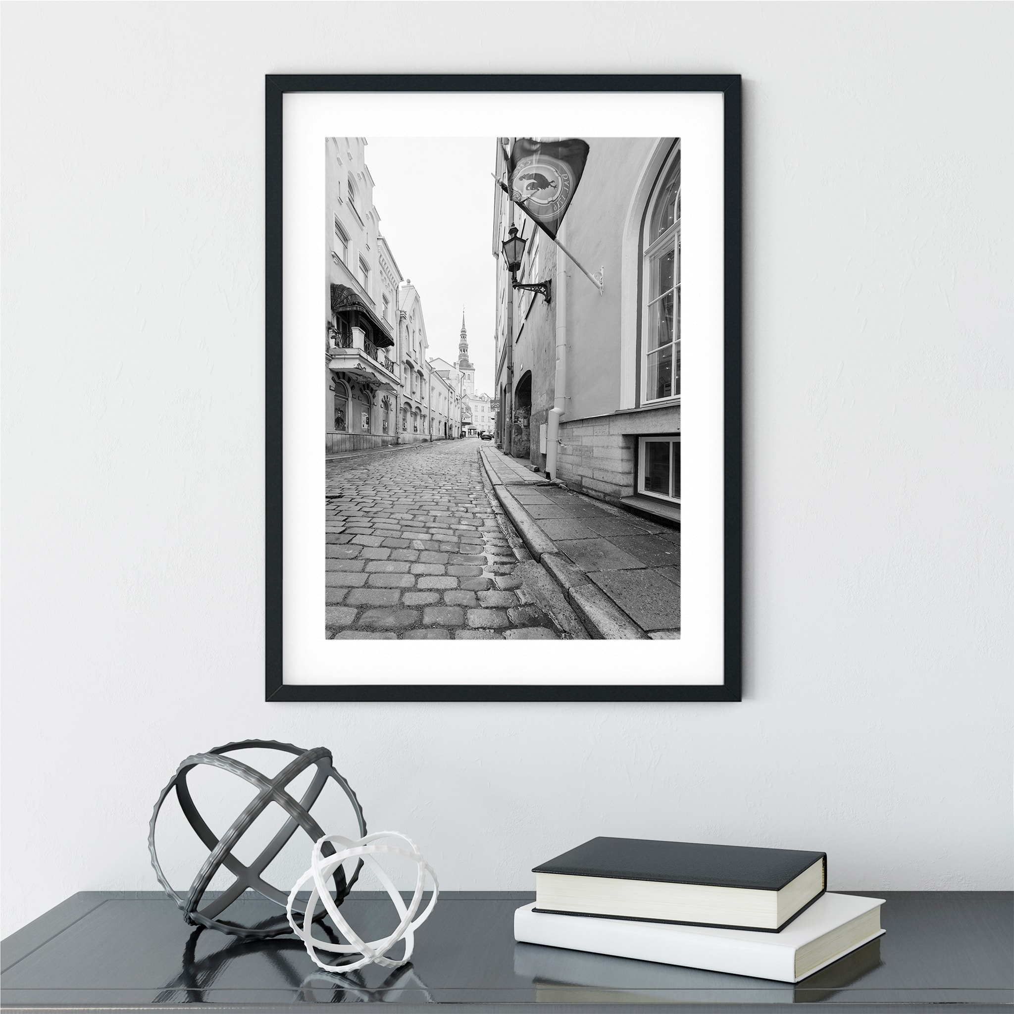 Street in Old Town of Tallinn poster in black frame on the wall interior