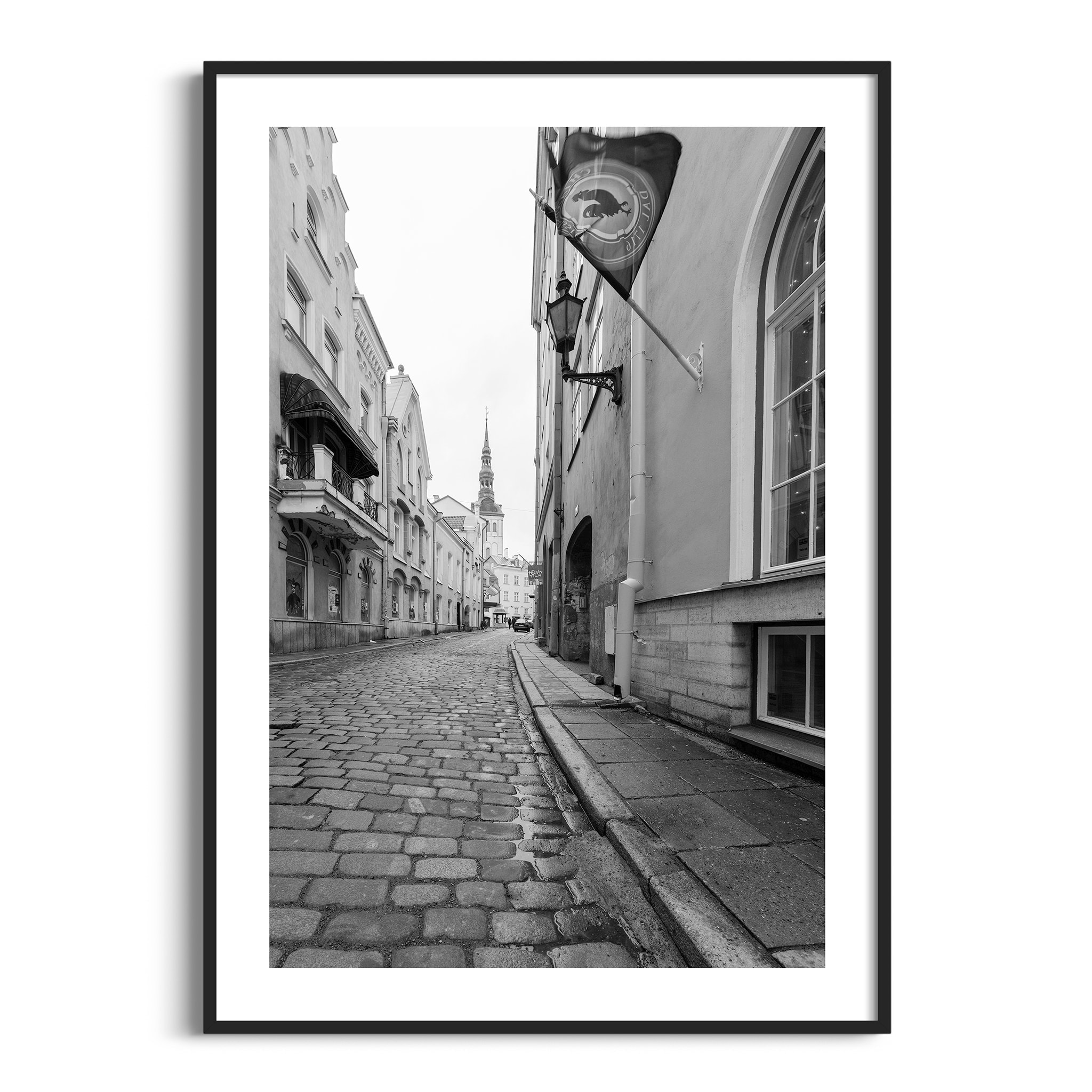 Street in Old Town of Tallinn poster in black frame with border
