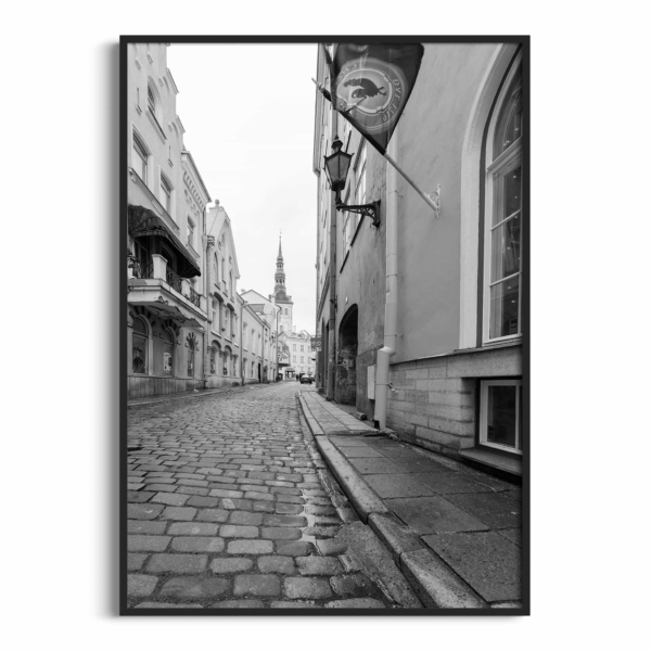 Street in Old Town of Tallinn poster in black frame without border