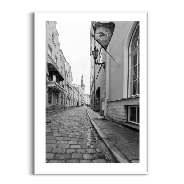 Street in Old Town of Tallinn poster in white frame with border